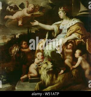Allegory of Magnanimity, Luca Giordano (Italian (Neapolitan), 1634 - 1705), about 1670, Oil on canvas, 180.3 x 180.3 cm (71 x 71 in - Stock Photo
