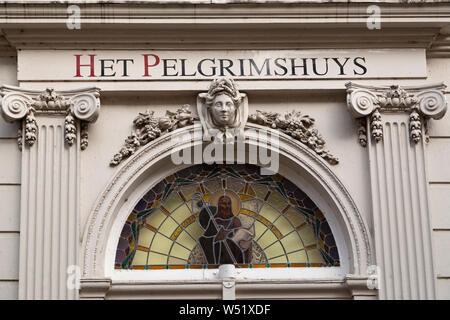 Sign on Het Pelgrimshuys (The Pilgrims House) in Dordrecht, the Netherlands, Dordrecht is an island city and the oldest city in Holland. - Stock Photo