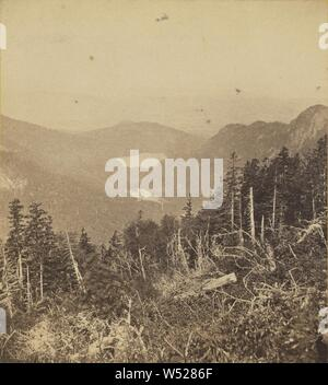 View from path to Mt. Lafayette. White Mountain, John B. Heywood (American, active Boston, Massachusetts 1850s - 1860s), about 1865, Albumen silver print - Stock Photo