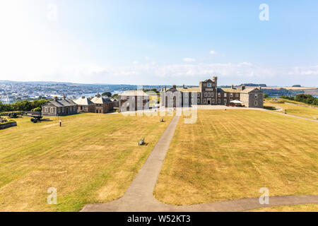 Pendennis Castle is an artillery fort constructed by Henry VIII near Falmouth, Cornwall, England between 1540 and 1542. - Stock Photo