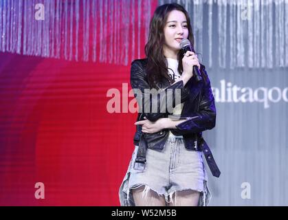Chinese Uigur actress Dilraba Dilmurat attends the 20th anniversary ceremony for JOSINY in Shanghai, China, 12 January 2019. - Stock Photo