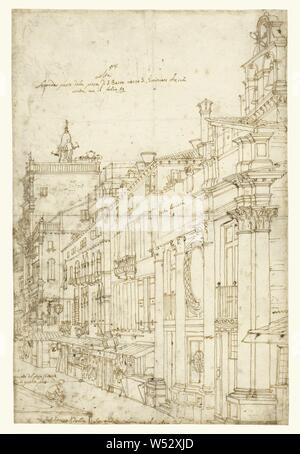 The Campo San Basso: The North Side with the Church (Recto), A Market Scene (Verso), Canaletto (Giovanni Antonio Canal) (Italian, 1697 - 1768), 1740s, Pen and brown ink, over black chalk, 43.2 × 29.2 cm (17 × 11 1/2 in - Stock Photo
