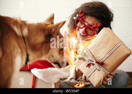 Funny Dog In Red Hipster Knit Hat Staffordshire Terrier Looks Up At Copy Space Winter Accessories Or Seasonal Concept Stock Photo Alamy