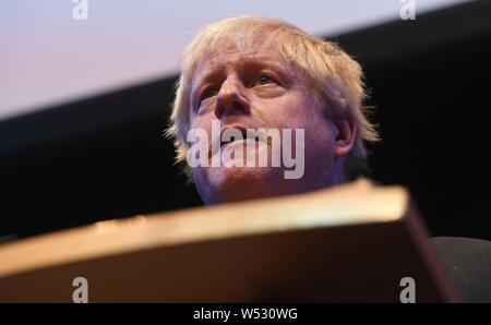 Boris Johnson speaking to a fringe event in hall one at the Conservative Party Conference at the ICC, Birmingham, Tuesday 2nd October 2018. - Stock Photo
