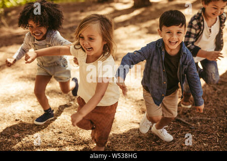 Adorable kids running up hill in a park. Group of children playing together in forest. - Stock Photo