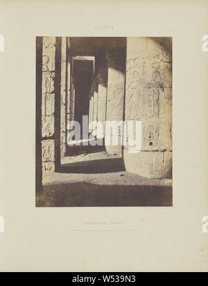 Médînet-Abou (Thèbes). Constructions Posterieures - Deuxième Cour - Galerie Sud-Est, Félix Teynard (French, 1817 - 1892), Luxor, Egypt, negative 1851 - 1852, print 1853, Salted paper print, 30.2 × 24.4 cm (11 7/8 × 9 5/8 in - Stock Photo