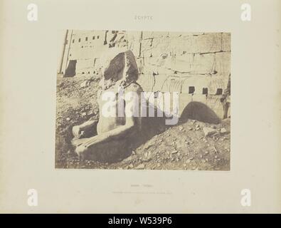 Karnak (Thèbes). Troisième Pylône - Colosse de Spath Calcaire, en D, Félix Teynard (French, 1817 - 1892), Egypt, negative 1851 - 1852, print 1853, Salted paper print, 23.9 × 30.1 cm (9 7/16 × 11 7/8 in - Stock Photo