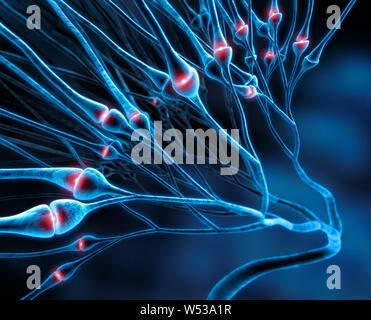 Active nerve cells synapses - 3D illustration - Stock Photo
