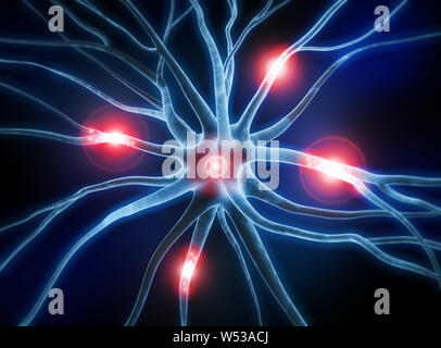 Active nerve cell - 3D illustration - Stock Photo