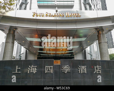 --FILE--View of the Four Seasons Hotel in Shanghai, China, 16 November 2018.   Authorities in the eastern Chinese city of Shanghai have punished seven - Stock Photo