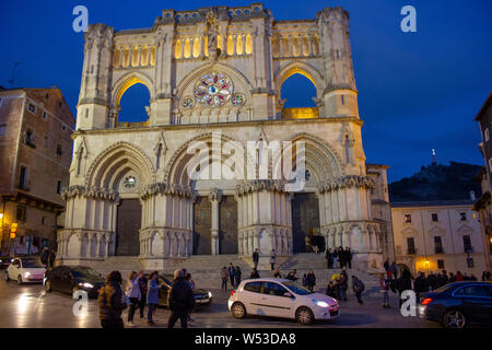 March 26, 2016 - CUENCA, SPAIN : Gothic Cuenca Cathedral at night, with beautiful lighting. The building is one of the earliest examples of Gothic arc - Stock Photo