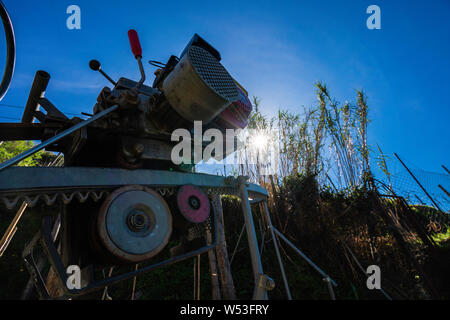 Old small Luggage carrier train on the Hiking Path to Vernazza - Stock Photo