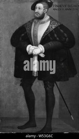 Attributed to David Frumerie, King Henry VIII, Henry VIII, 1491-1547, King of England, painting, portrait, Henry VIII of England, 1667, Oil on canvas, Height, 194 cm (76.3 inches), Width, 115 cm (45.2 inches) - Stock Photo