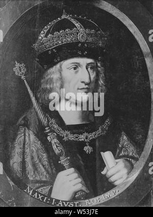 Maximilian I, 1459-1519, German-Roman Emperor, King of Austria, painting, portrait, Oil on panel, Height, 64 cm (25.1 inches), Width, 50 cm (19.6 inches) - Stock Photo
