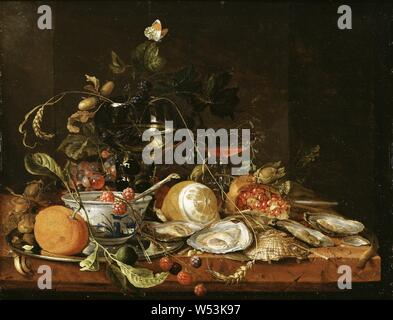 Jan Davidsz, de Heem, Still Life with Wine, Fruit and Oysters, Still life with wine, fruits and oysters, painting, still life, oil on panel, Height, 37.7 cm (14.8 inches), Width, 47.4 cm (18.6 inches, Signed, J. d. De Heem P. - Stock Photo