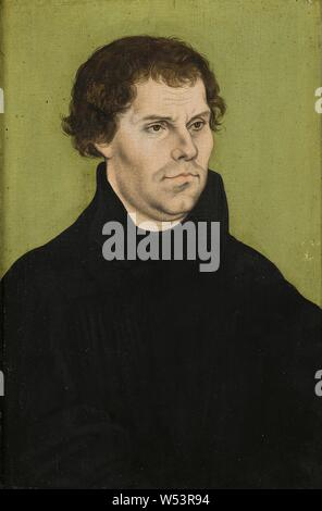 Lucas Cranach the Elder, Martin Luther, Martin Luther (1483-1546), painting, portrait, 1527, Oil on wood, Height, 39 cm (15.3 inches), Width, 26 cm (10.2 inches), Signed, with master mark, a winged snake - Stock Photo