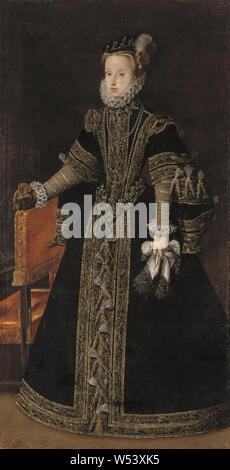 Workshop of Alonso Sánchez Coello, (–1588), Anna of Austria, Archduchess Anna Maria (1549–1580), Anna of Austria, Queen of Spain, Oil, Height: 206 cm (81.1), Width: 107 cm (42.1) - Stock Photo