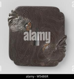 Hand guard, Square mocha-shaped tsuba with a decoration of two hanan in high relief on a background of imitated wood. In wooden box (not matching) with collector's stamp., anonymous, Japan, 1800 - 1900, iron (metal), copper (metal), d 8.2 cm × t 0.5 cm - Stock Photo