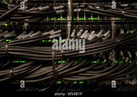 Network Switch and Ethernet Cables Patched into Local Network and IPTV - Stock Photo