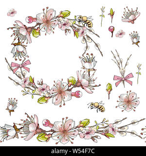 Seamless brush, wreath of apricot flowers in vector on white background - Stock Photo