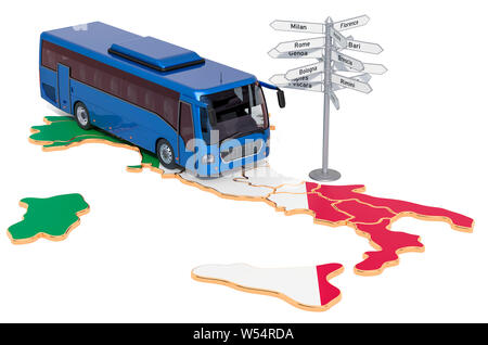 Italy Bus Tours concept. 3D rendering isolated on white background - Stock Photo