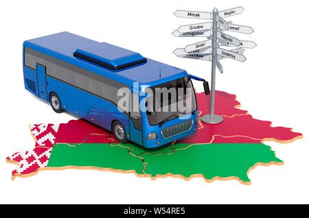 Belarus Bus Tours concept. 3D rendering isolated on white background - Stock Photo