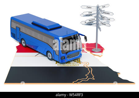 Egypt Bus Tours concept. 3D rendering isolated on white background - Stock Photo