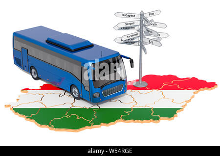 Hungary Bus Tours concept. 3D rendering isolated on white background - Stock Photo