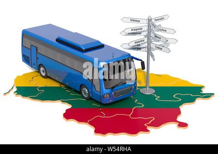 Lithuania Bus Tours concept. 3D rendering isolated on white background - Stock Photo
