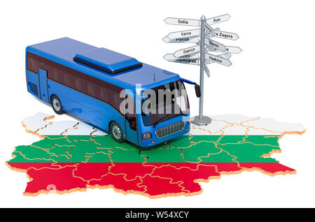 Bulgaria Bus Tours concept. 3D rendering isolated on white background - Stock Photo