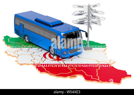 Iran Bus Tours concept. 3D rendering isolated on white background - Stock Photo