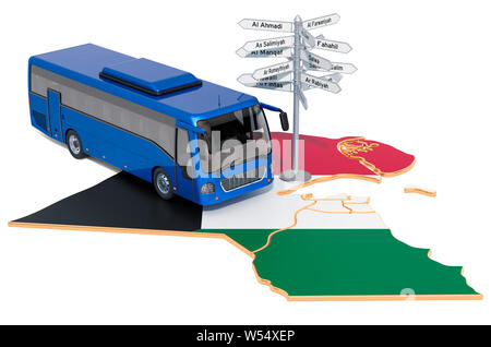 Kuwait Bus Tours concept. 3D rendering isolated on white background - Stock Photo
