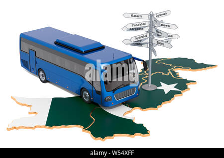 Pakistan Bus Tours concept. 3D rendering isolated on white background - Stock Photo