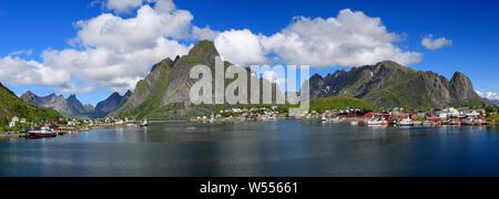 Scenic panoramic view of Reine area, Lofoten Islands in Norway
