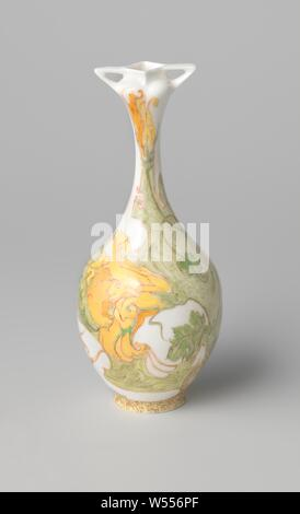 Vase, multicolored painted with flowers, Vase of semi-porcelain, multicolored painted in green, yellow, brown, orange and red with flowers. Two ears at the top of the neck., N.V. Haagsche Plateelfabriek Rozenburg, The Hague, c. 1910, porcelain (material), h 13.9 cm × d 5.9 cm - Stock Photo