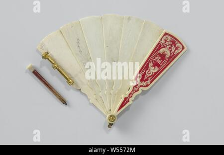 Ball book of ivory in the form of a brisé fan, with pencil, with pencil. Copper flower with locking pin, 7 contiguous legs, front outer leg in red with white rocaille ornaments, in oval the text 'Ball', on the left outer leg three copper rings, pencil with ivory cap. Some leaves described in pencil., anonymous, c. 1890 - c. 1900, geheel, potlood, knop, sluitpin, founding, s 9.2 cm × l 7.8 cm - Stock Photo