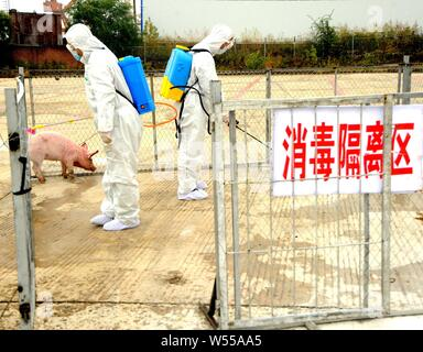 --FILE--Chinese workers spray disinfectant to against African swine fever at a pig farm in Heihe city, northeast China's Heilongjiang province, 28 Sep - Stock Photo