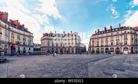 City of Nantes downtown in France - Stock Photo