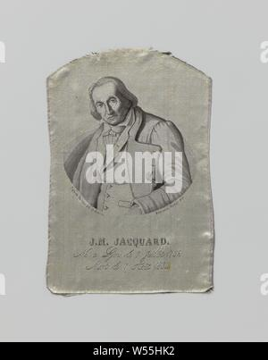 Fragment of a silk fabric with a portrait and inscription, A gray silk fabric with a portrait of J.M. Jaquard and an inscription: 'Né à Lyon le 7 millet 1752. Mort le 7 tout 1834., anonymous, 1835, silk, lampas (textile material), h 17.5 cm × w 11.7 cm - Stock Photo
