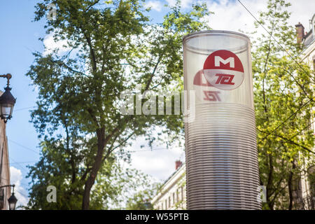LYON, FRANCE - JULY 13, 2019: TCL logo on one of their downtown subway metro stations. TCL, or Transports en Commun Lyonnais, is  the Lyon public tran - Stock Photo