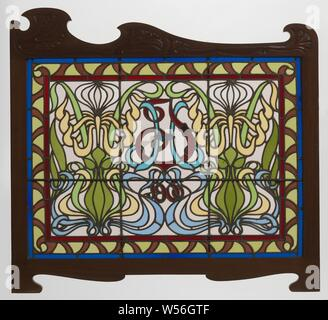 Decorative Stained Glass Of Art Nouveau Style Below Balcony Above Entrance Of Municipal House In Prague Czech Republic Stock Photo Alamy