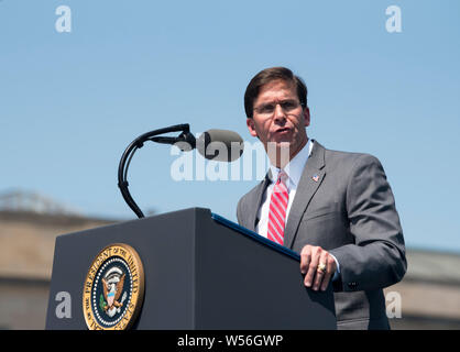 U.S Secretary of Defense Dr. Mark T. Esper delivers remarks during a full honors welcoming ceremony at the Pentagon July 25, 2019 in Arlington, Virginia. - Stock Photo