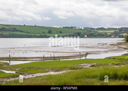 The looking across the Teifi estuary between Cardigan and Poppit Sands, Ceredigion, Wales, UK - Stock Photo