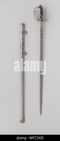 Officer saber with sheath light cavalry no. 4 by W.J.K. van Rappard, Officer model cavalry sable with hilt and scabbard, originating from the heavy cavalry M 1849. Worn by W.J.K. Knight of Rappard. Blade long, straight and double-sided. On the one hand inscription: 'ME FECIT' and on the other hand: '1534'. The sheath has two bands and loose rings. The blade is probably not authentic, Netherlands, W.J.K. Knight of Rappard, anonymous, West-Europa, in or after 1849 - before 1879, kling, greepkap, schede, korf, angel, sleepplaat, greep, l 101 cm l 100.5 cm l 91.5 cm l 87 cm × w 3 cm l 14.5 cm - Stock Photo