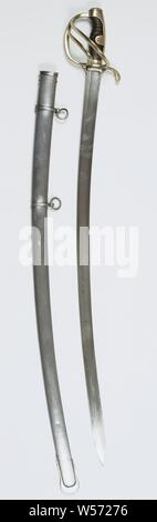 Sable light cavalry model no. 3, M.1814 with scabbard, Officer saber cavalry model 1823 or 1846. Articulated half bump plate. On the 'De Jager' blade. With steel sheath. One fixed and one loose ring. Hollowing to 22 cm, Netherlands, S. de Jager, Haarlem, 1814 - 1866, kling, schede, gevest, greep, l 99 cm l 86.3 cm × w 3.2 cm × t 9 mm - Stock Photo