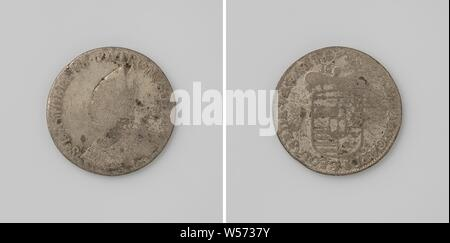 The Bishop's seat of Liège vacant, Silver coin Front side: bust man with a miter inside an inscription. Reverse: crowned coat of arms with year inside inscription., Liège, anonymous, Liège (city), 1694, silver (metal), striking (metalworking), d 3.8 cm × w 27.49 - Stock Photo