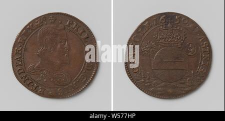 Marriage of Philip IV, King of Spain and Maria Anna, Archduchess of Austria, Copper Medal. Front: man's bust inside the inside. Reverse: crowned globe, flanked by sun and moon within an inscription, Philip IV (king of Spain), Maria Anna of Austria (queen of Spain), anonymous, Brussels, 1650, copper (metal), striking (metalworking), d 3 cm × w 6.50 - Stock Photo