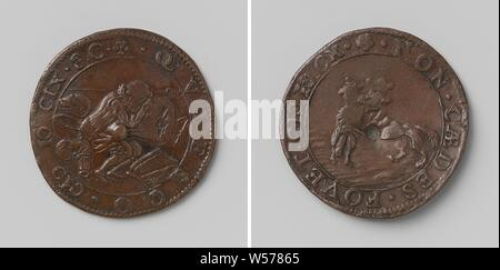 Closure of the Twelve Year Truce between the Republic and Spain and the Murder of Henry IV, King of France, Copper Medal. Front: Sitting in the middle of a weapon, a soldier rests on a torn drum within a circle. Reverse: lion with Jesuit cap on head torn lamb within a wrap, France, Netherlands, Spain, Henry IV (King of France and Navarre), Republic of the Seven United Netherlands, anonymous, Dordrecht, 1609 - 1610, copper (metal), striking (metalworking), d 2.9 cm × w 5.77 - Stock Photo