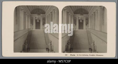 Honor staircase in the Palais du Luxembourg in Paris Paris. Le Luxembourg, escalier d'honneur (title on object), staircase, interior, representation of a building, Neue Photographische Gesellschaft (mentioned on object), Palais du Luxembourg, 1903, cardboard, photographic paper, gelatin silver print, h 88 mm × w 179 mm - Stock Photo