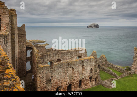 View of Bass Rock from high up inside Tantallon Castle, East Lothian, Scotland - Stock Photo